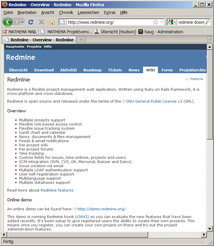 Zusammenarbeit und Issue Tracking RedMine Projekt Management Web Application www.redmine.