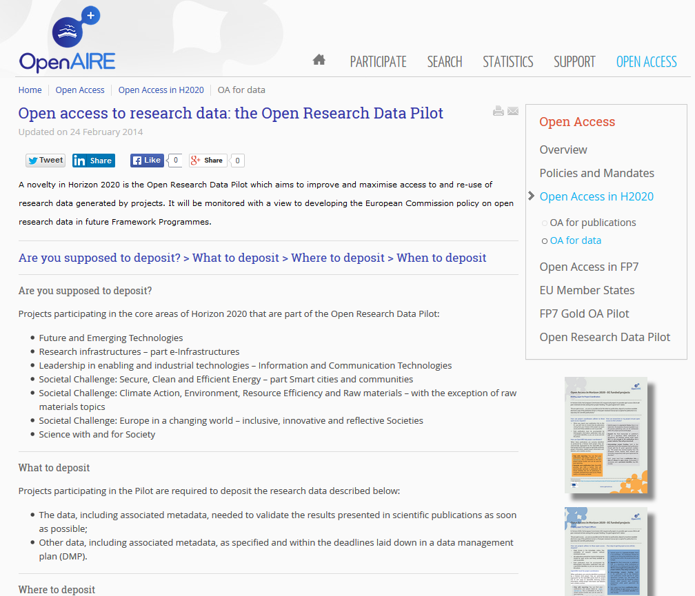 Forschungsdaten - Open Research Data Piloten der EU in H2020 OpenAIRE