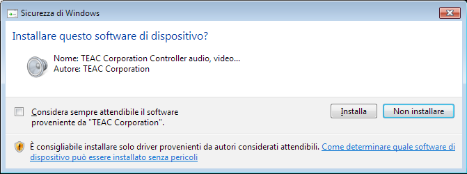 Installazione del software dedicato Per utilizzare questa unità con un computer Windows, è necessario installare un driver e il software Settings Panel.