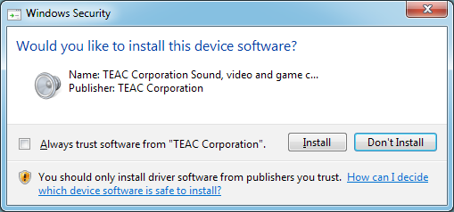 Installing the dedicated software To use this unit with a Windows computer, you must install a driver and Settings Panel software.