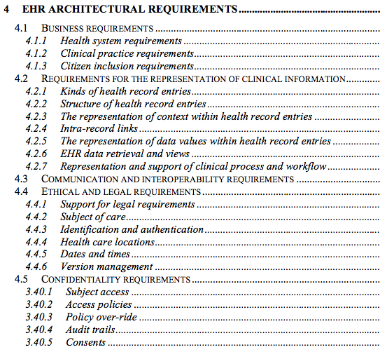 Requirements the EHR must meet: ISO 18308 after Kalra The EHR shall preserve any explicitly defined relationships between different parts of the record, such as links between treatments and