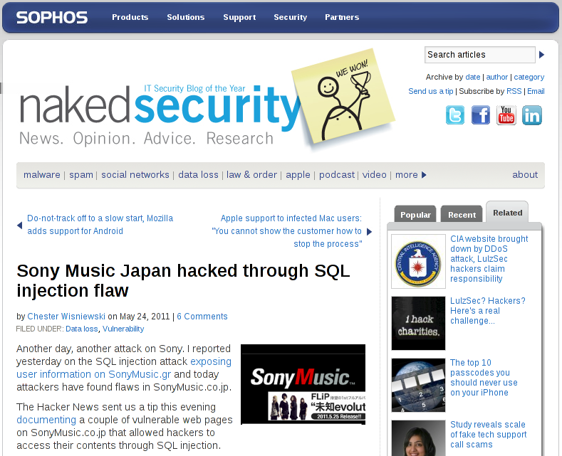 URL-Manipulation Local-File-Inclusion Cross-Site-Scripting SQL-Injection Sony Music Japan