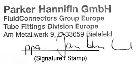 EC Declaration of conformity in keeping with the European Machinery Directive (98/37/EC), appendix II A Hereby declares the manufacturer, that the following product, Parker Hannifin GmbH Am