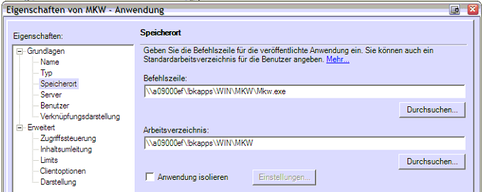 Abb. 39- UNC-Pfad für MKW 7.3.3.7. MS Office Publisher Anzeigename Clientanwendungsordner AD-Gruppe Profil-Adresse Microsoft Office Publisher CeBrA MS Office M009\Streaming_Publisher \\m009.