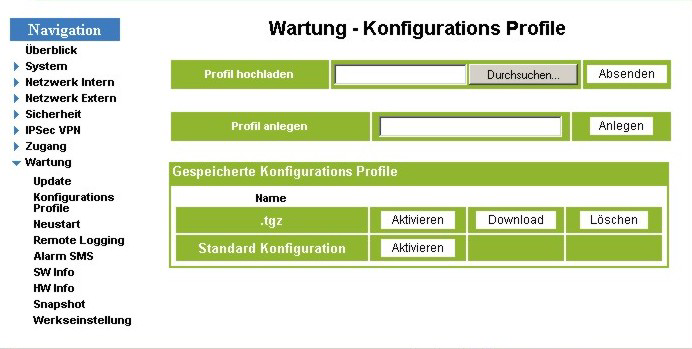 114 Parametrieren WAGO-TO-PASS 761 6.4.7.2 Konfigurations Profile Drücken Sie in der Navigationsleiste Wartung > Konfigurations Profile.