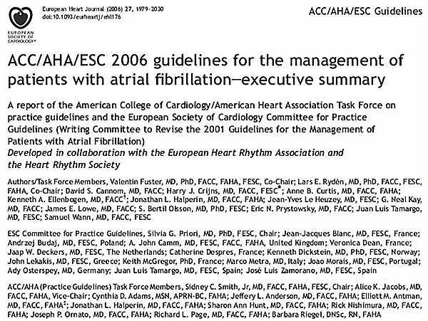 ACC/AHA/ESC Guidelines 2006 for the