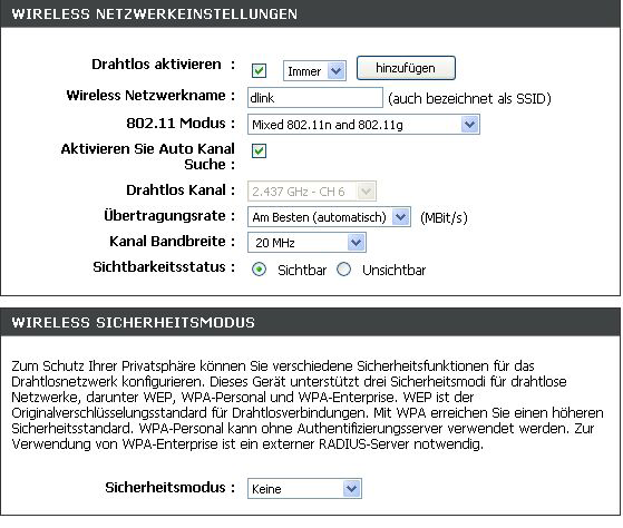 Abschnitt 3 - Konfiguration Drahtlos aktivieren (Enable Wireless): Wireless Netzwerkname (Wireless Network Name): Aktiveren Sie Auto Kanal Suche(Enable Auto Channel Scan): Drahtlos Kanal (Wireless