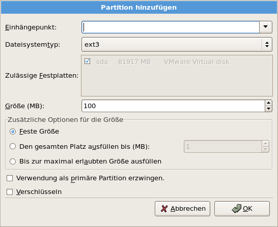 Installation von CentOS-Linux Sinnvollerweise partitioniert man: / root Filesystem 2GB (6GB*) swap swap space phys. Mem.