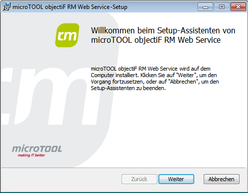 Installation objectif RM Web-Client Installation objectif RM Web-Client 1.