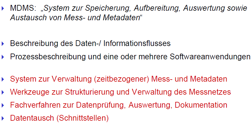 Messdatenmanagementsystem Eine Definition