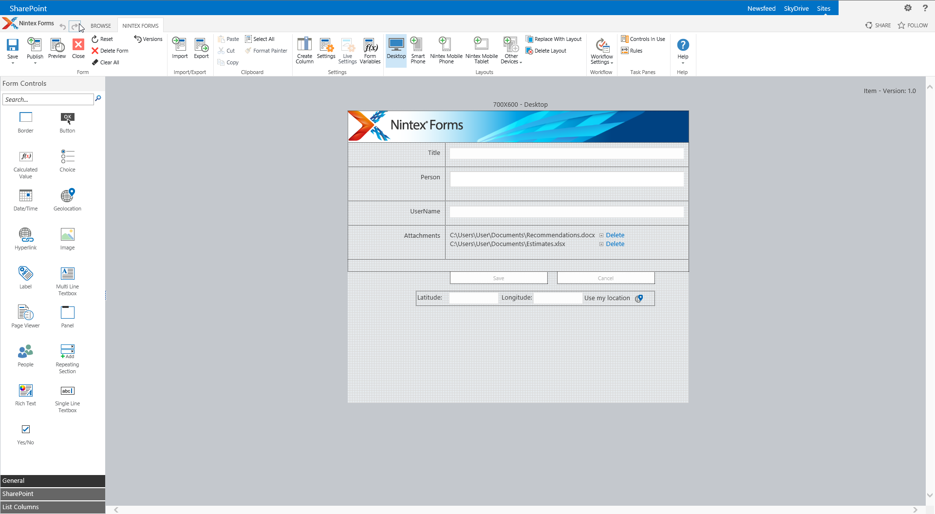 Nintex Forms for SharePoint Ribbon mit diversen Optionen