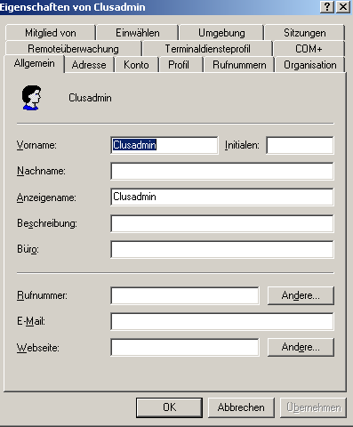 Erstellung eines ClusterAdmin Accounts Act as part of the operating system Adjust memory quotas for a