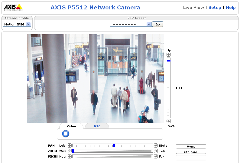 AXIS P5512 Installation Guide Page 17 Access the video stream The Live View page of the network camera is displayed, with links to the Setup tools, which allow you to customize the camera.