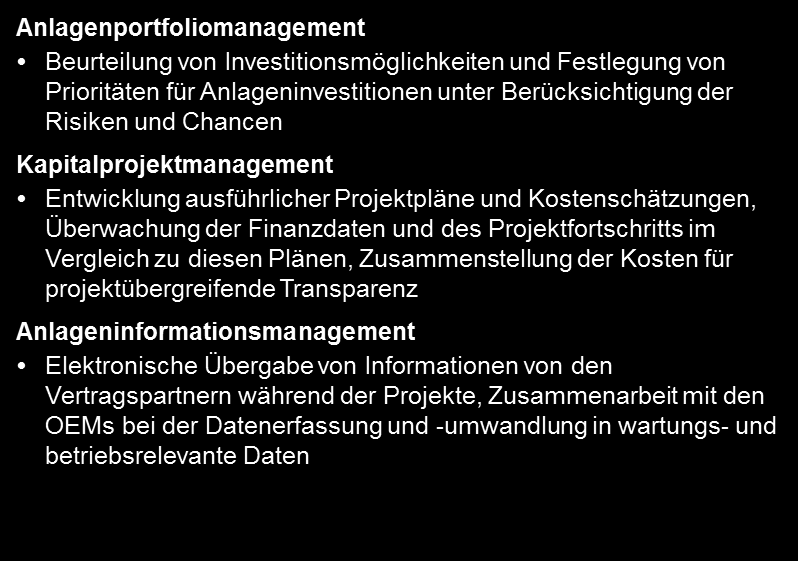 7 Planning, Building, and Commissioning Assets Optimierung des Anlagenportfolios Planning, Building,