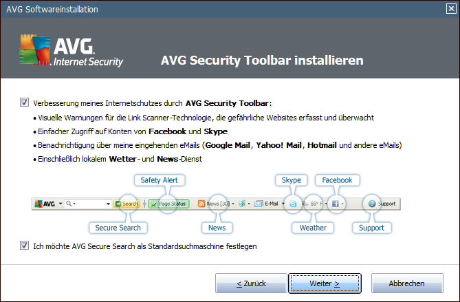 4.5. AVG Security Toolbar installieren Entscheiden Sie im Dialog AVG Security Toolbar installieren, ob Sie die AVG Security Toolbar installieren möchten.
