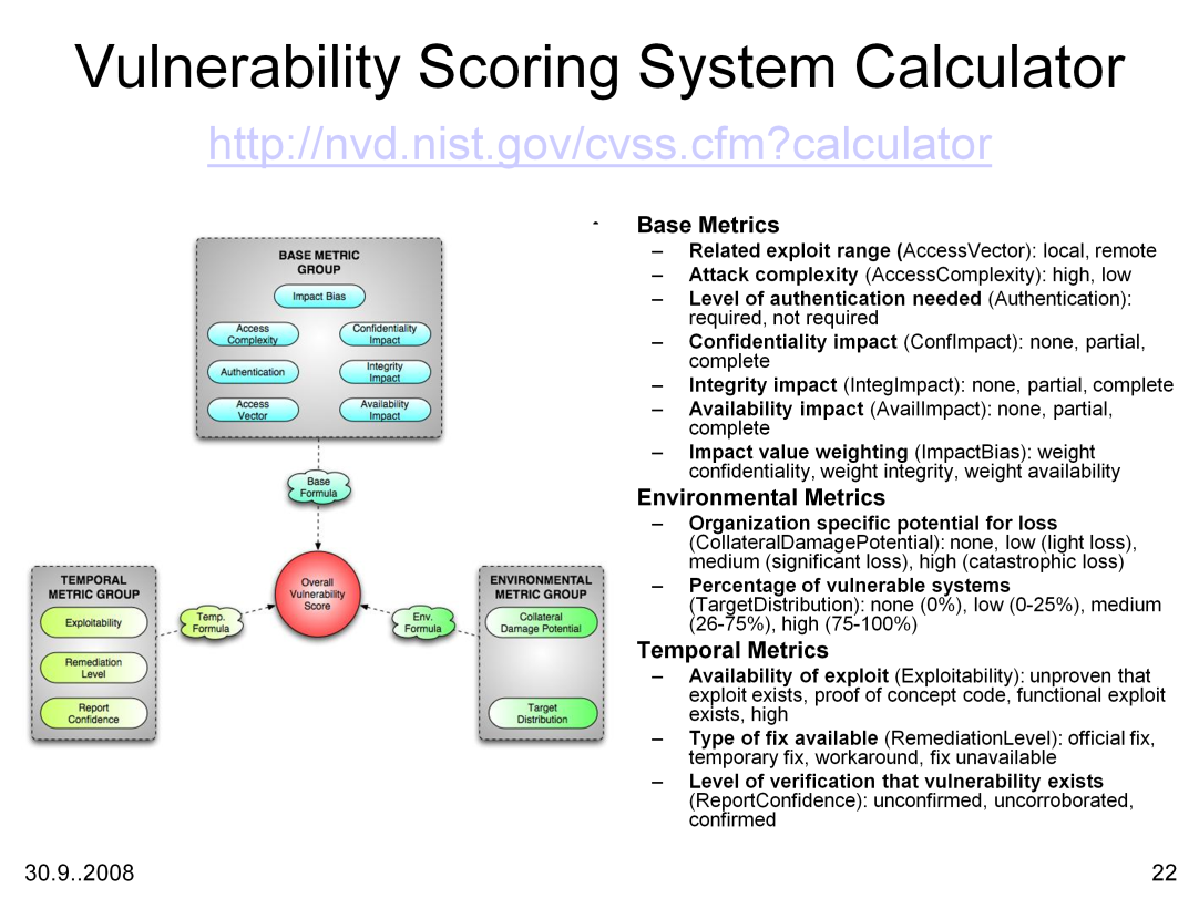 Base Score Metrics: Once discovered, analyzed, and catalogued, assuming the initial information is complete and correct, there are certain aspects of a vulnerability that do not change.