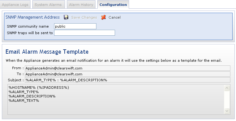 Benachrichtigung (Alerting) SNMP and email alerting for system