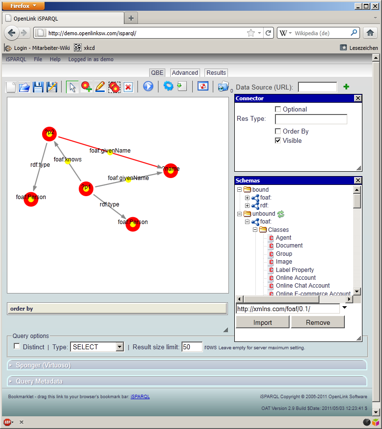 Visuelle Interfaces isparql (2007) Query-by-Example Klassen und Relationen aus Schema per