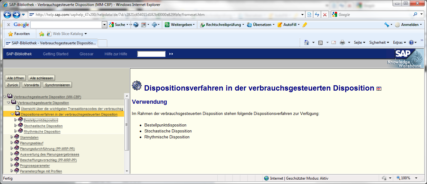 Disposition in SAP ECC 6.0 Quelle und SAP AG, http://help.sap.