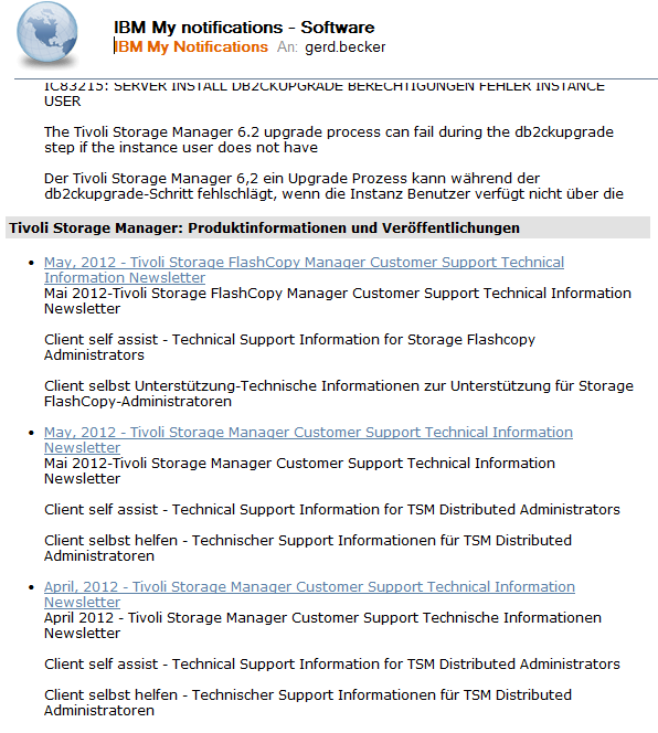47 News und Technical Flashes Gebündelte Infos vom IBM Tivoli Support: