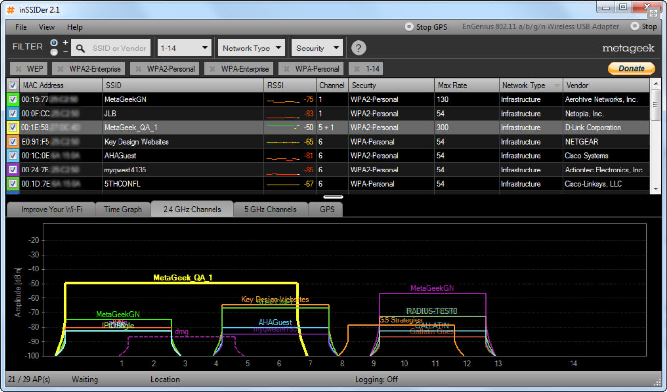 WLAN Layer 1 Analyse 7 InSSIDer - die