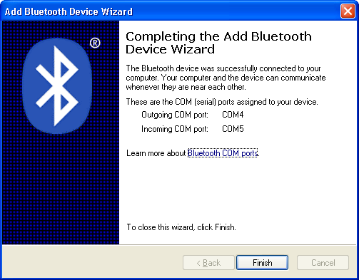 Hardwareinstallation Windows XP und höher Figure 6.2-4: Add Bluetooth Device Wizard Enter passkey (5) Nach der Eingabe des Hauptschlüssels werden die COM-Ports des CANblue Geräts angezeigt.