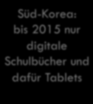 No child left untableted Verbreitung Süd-Korea: bis 2015 nur digitale
