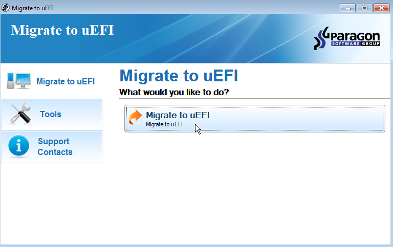 4 6. Klicken Sie auf der folgenden Seite auf Ändern, um die Anwendung in einem anderen Ordner zu installieren (standardmäßig C:\Program Files\Paragon Software\Paragon Migrate to UEFI \).
