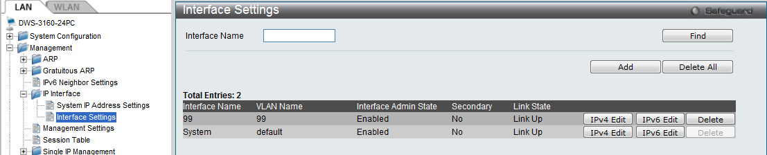 ) Legen Sie jetzt ein IP-Interface für das VLAN 99 an, gehen Sie hierzu auf LAN -> Management -> IP Interface -> Interface Settings und klicken die die den Button Add a.