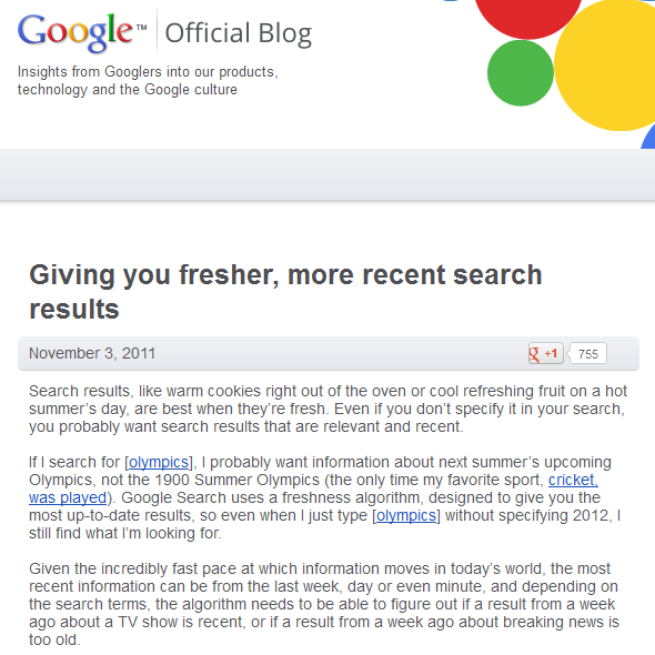 Google Update Freshness, Nov.