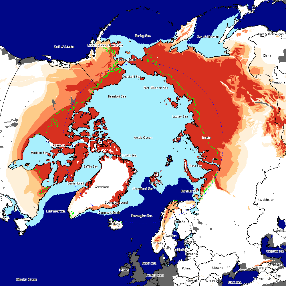 A WMS Example (A large image (1000 x 1000 pixels) of several cryospheric parameters in a polar stereographic projection focused on the Arctic): http://nsidc.org/cgi-bin/atlas_north?