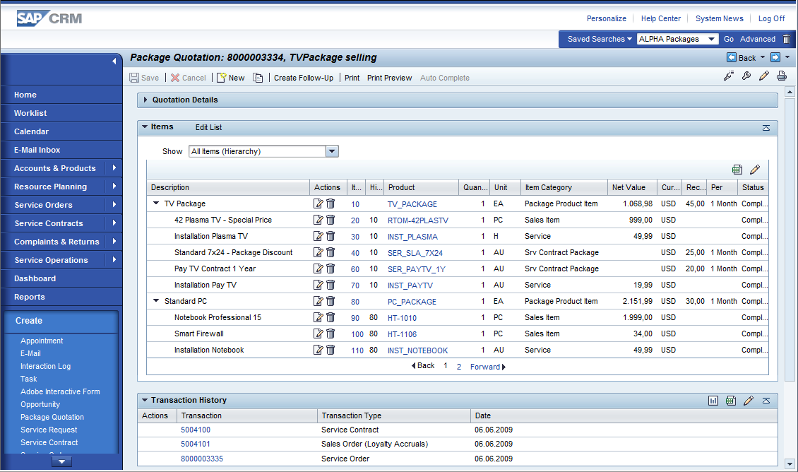 SAP Standard Screenshot SAP CRM 7.