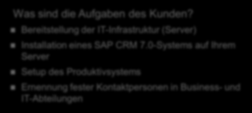 Key Deliverables Was liefert SAP?