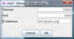 Configuration Client Select a network vna driver inside the vna/j application on the CLIENT.