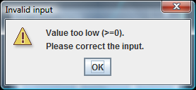 When the entered values is too low for the active scale, a message is displayed showing the maximum value.