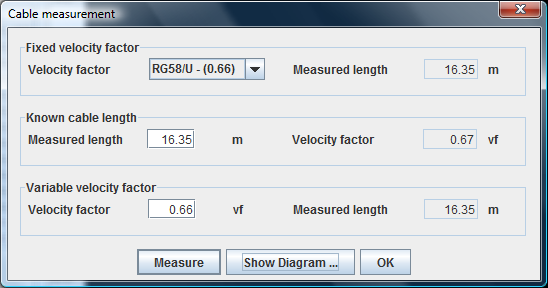 Cable length measurement This tool enables the user - to determine the length of a coaxial cable with known velocity factor - to determine the velocity factor of a cable with known length Pressing