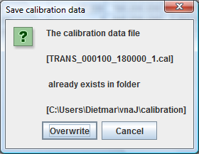 Saving calibration data After creating a complete calibration data set in the calibration dialog, it is possible to save this calibration data set for later use by pressing the SAVE button.