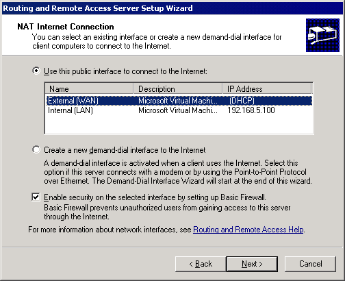 Screenshot 3: Microsoft Windows Server 2003: Dialog Setup-Assistent für den Routing- und RAS-Server 5. Wählen Sie Diese öffentliche Schnittstelle zum Herstellen der Internetverbindung verwenden aus.