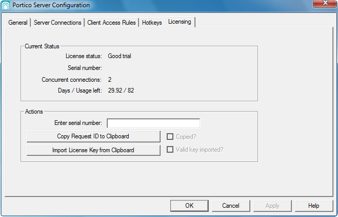 Portico 1. Start the Portico Server Configuration application and select the Licensing tab. The current license status is shown in the top portion of the dialog box (see Figure 1-6).