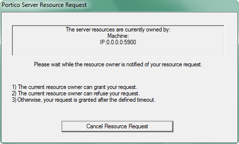 English Simultaneously the requesting client will see a request status window similar to the one in Figure 1-10.