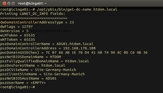 sudo /opt/pbis/bin/get-status sudo domainjoin-cli query sudo /opt/pbis/bin/get-dc-name htdom.