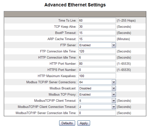 PowerLogic TM Ethernet Gateway EGX300 63230-319-216B3 Setup 03/2013 Figure 4: Advanced Ethernet Settings Page Table 3: EGX Advanced Ethernet Settings Time To Live Option Description Setting TCP Keep