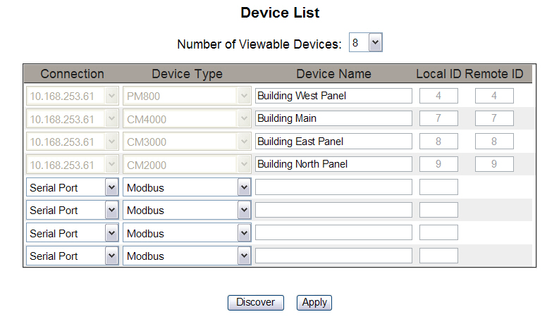 63230-319-216B3 PowerLogic TM Ethernet Gateway EGX300 03/2013 Setup Figure 11: Device List Page with Remote Connections Supported Table 7: Device List Settings Option Description Setting Number of