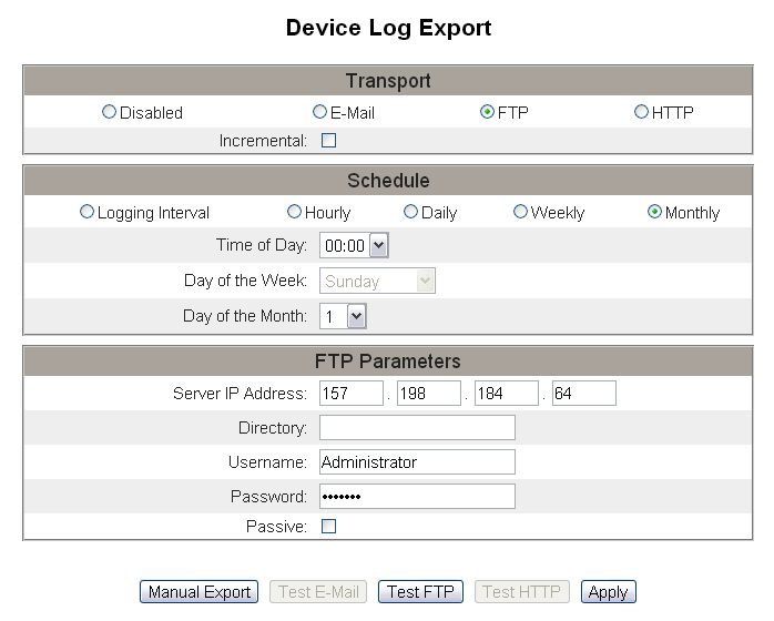 63230-319-216B3 PowerLogic TM Ethernet Gateway EGX300 03/2013 Setup Figure 16: Device Log Export Page - FTP NOTE: If the transport is scheduled for Hourly or Logging interval, the incremental check