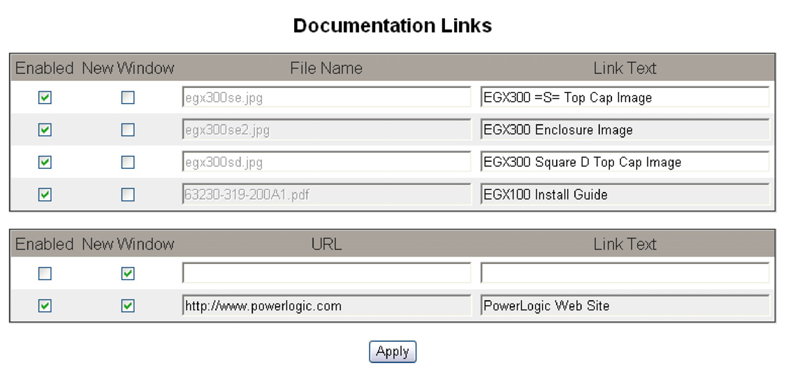NOTE: Local file documents you want to appear on the Documentation web page must be placed in the EGX www/documentation folder using FTP. Action 1. From the Setup menu, click Documentation Links. 2.