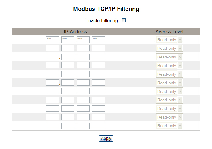 PowerLogic TM Ethernet Gateway EGX300 63230-319-216B3 Setup 03/2013 Figure 21: Modbus TCP/IP Filtering Page Documentation Links The EGX supports two types of documentation links: 1.
