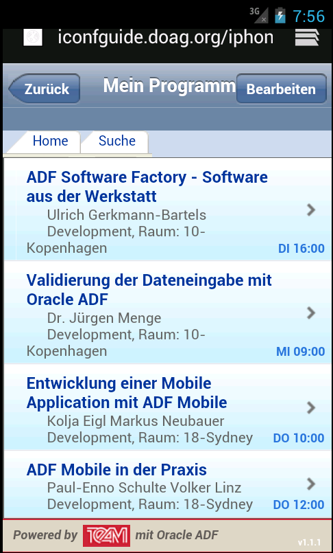 Oracle ADF Mobile Browser Angepasstes Look&Feel der Web-Applikation im Browser des mobilen