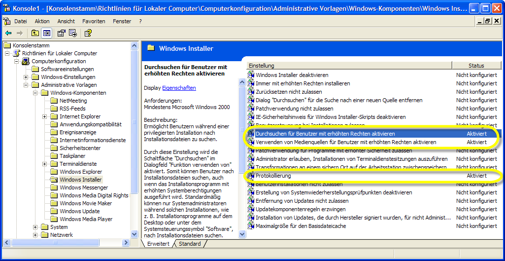 4.7. Wichtige Windows- Installer Parameter Der Windows Installer ist in das Windows Betriebssystem voll integriert.