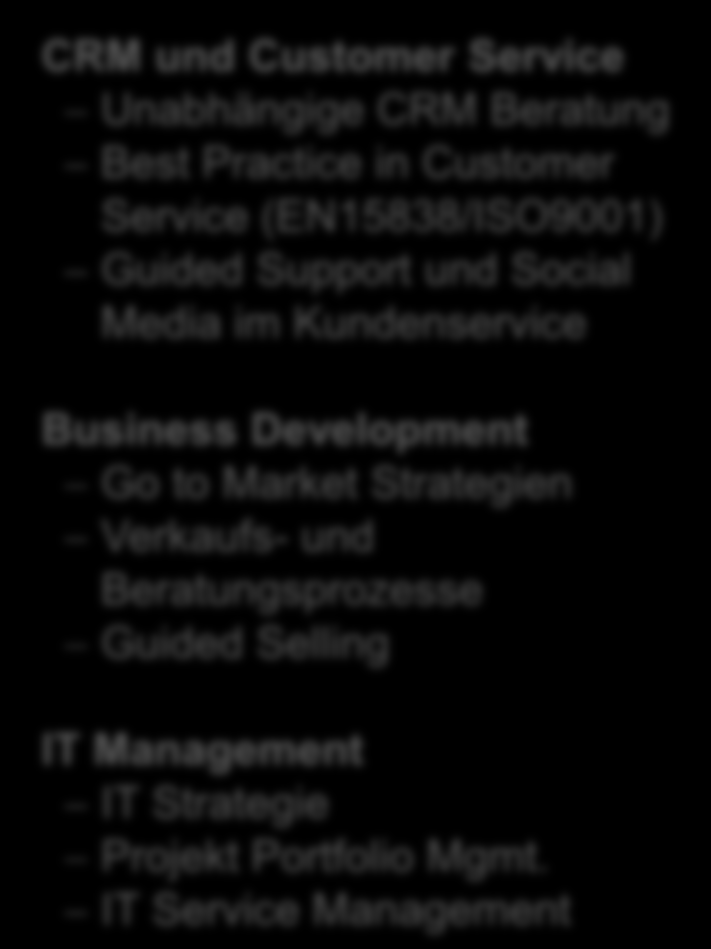 in Customer Service (EN15838/ISO9001) Guided Support und Social Media im Kundenservice Business Development Go to Market