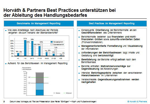 Mehr als 10 Jahre CFO-Panel Benchmarking zeigen zahlreiche Einflussfaktoren, die der Trendidentifikation dienen und Best Practices erkennbar machen Trends Best Practices Management Reporting (C3) Zu